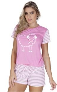 Baby doll em malha com elástico embutido e estampa de ovelha L17.B