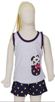 Produto Baby doll infantil em algodão com estampa de cachorrinho R19.A