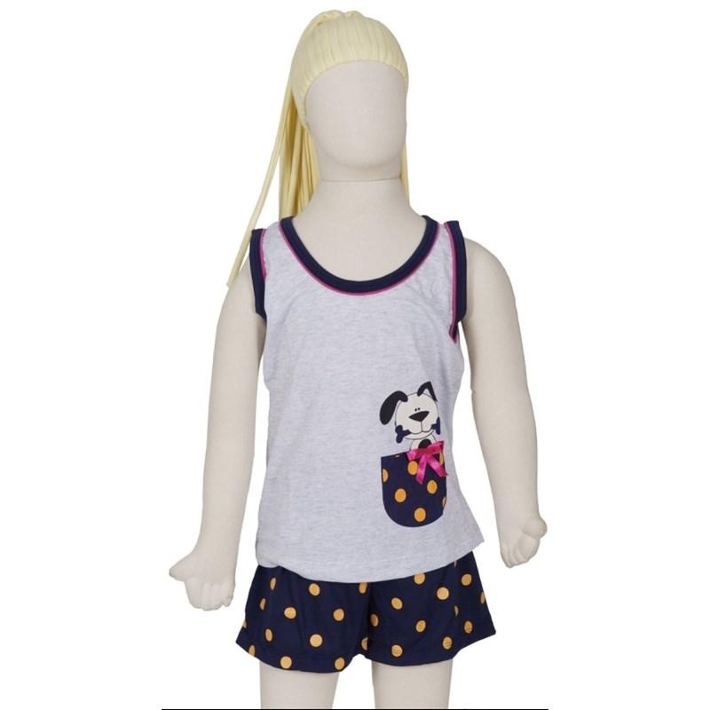 Baby doll infantil em algodão com estampa de cachorrinho R19.A CINZA COM AZUL MARINHO