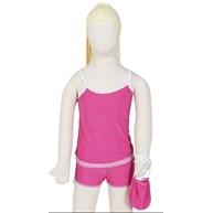 Baby doll infantil em liganete estampada com bolsinha R05.A