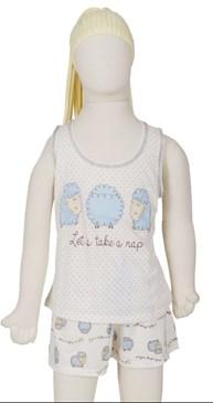Baby doll infantil em malha com estampa de carneirinho R31.A
