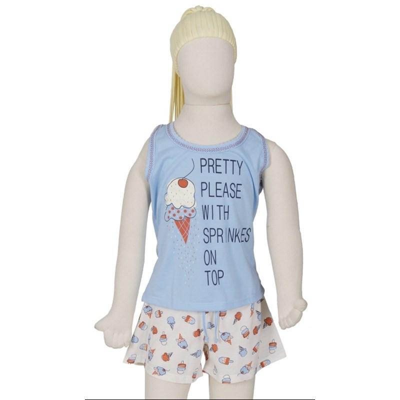 Baby doll infantil em malha estampada com elástico embutido R34.B AZUL CLARO VARIADO
