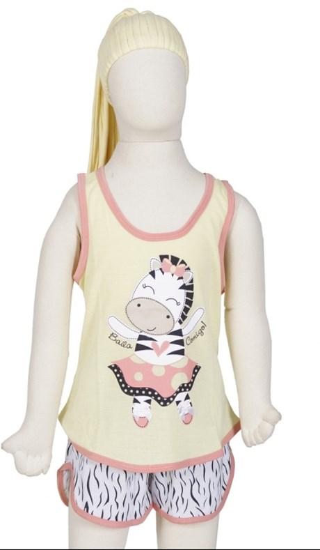 Baby doll infantil em malha estampada de zebra e elástico embutido R15.A