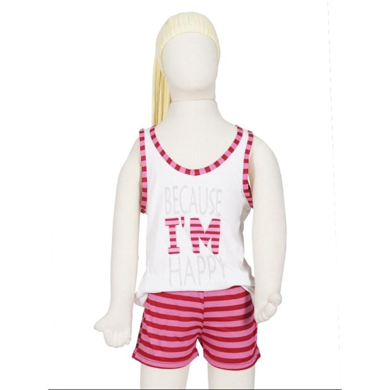 Baby doll infantil em malha listrada com elástico embutido R08.B CREME COM ROSA ESCURO LISTRA