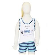 Baby doll infantil em malha listrada com elástico embutido R08.B