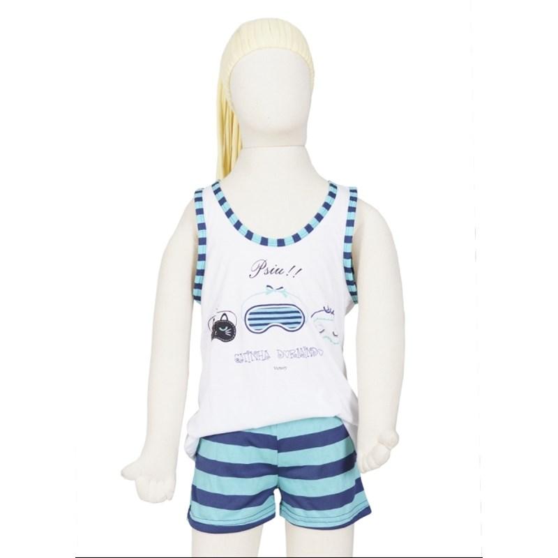 Baby doll infantil em malha listrada com elástico embutido R08.B BRANCO COM VERDE ÁGUA LISTRA