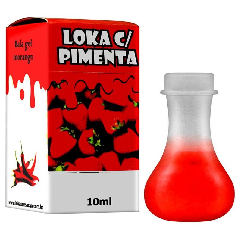 Bala Gel Comestível Loka Com Pimenta 10ML S46.D MORANGO COM PIMENTA