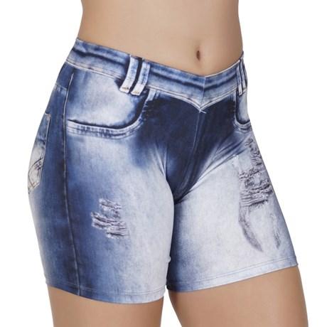 Bermuda fitness em suplex com estampa jeans e elástico embutido V22.B