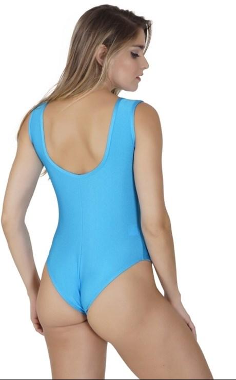 Body fitness em lycra lisa brilhosa com detalhe em telinha V149