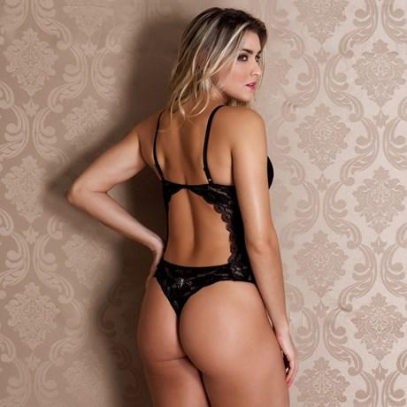 Body premium sexy em renda importada com tule e bijuteria J12.A