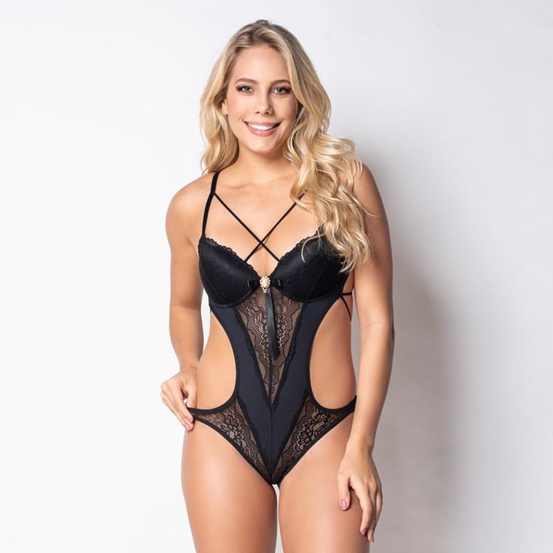 Body premium sexy strappy bra em microfibra com renda e bijuteria J11.A PRETO