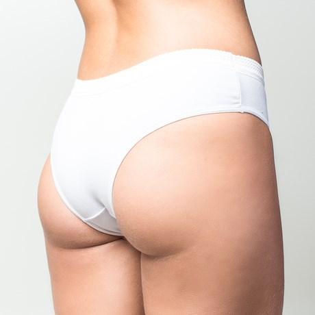 Calça básica em algodão liso com elástico exposto A80.A