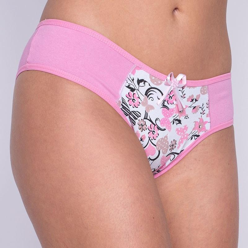 Calça em cotton liso e estampado com lacinho em cetim A01 ROSA CLARO VARIADO