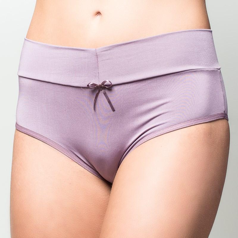Calça em microfibra lisa com cintura alta e cós dobrado A76.A UVA