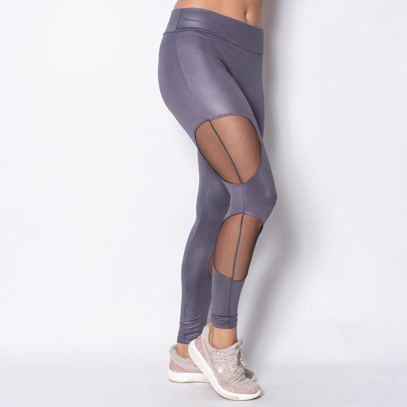 Calça fitness em cirre liso com detalhes laterais em tule V132.A GRAFITE