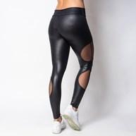 Calça fitness em cirrê liso com detalhes laterais em tule V132.A PRETO
