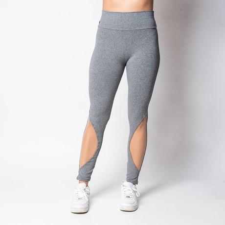 Calça fitness em suplex liso com cós alto e telinha na canela V03.D GRAFITE