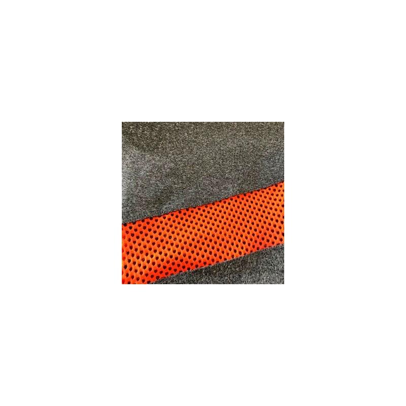 Calça fitness em suplex liso com detalhes em telinha V38.B GRAFITE COM LARANJA
