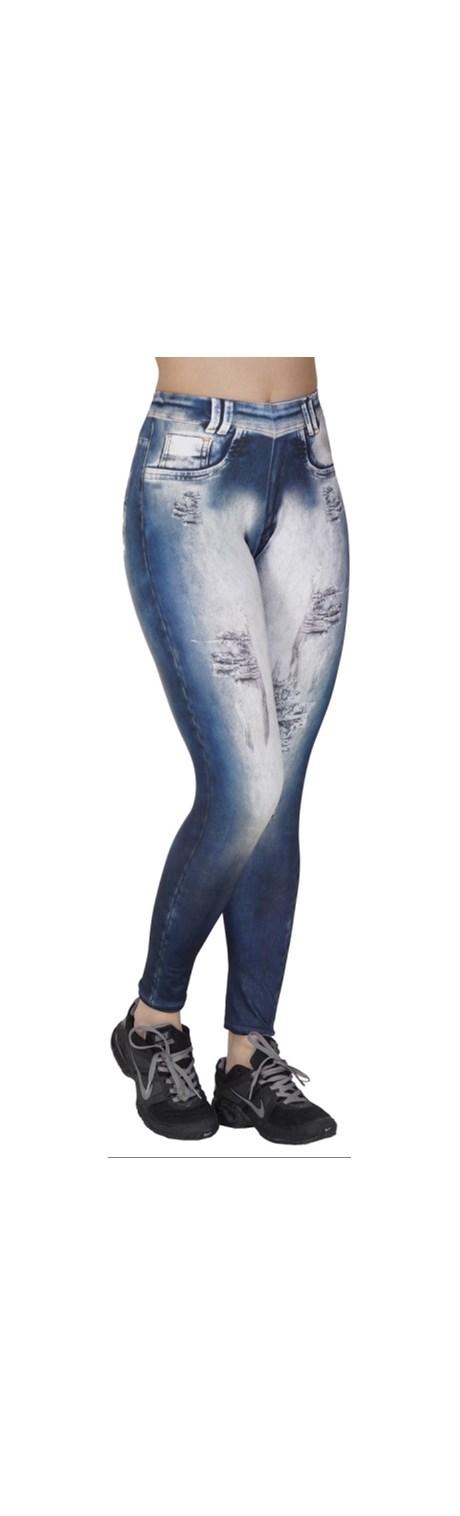 Calça fitness fusô em suplex com estampa jeans e elástico embutido V30.B