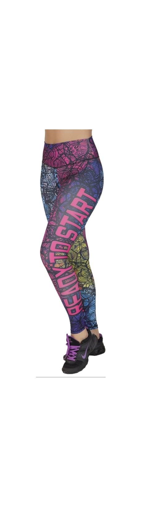 Calça fitness fusô em suplex com estampa sublimada e cós largo V46.B