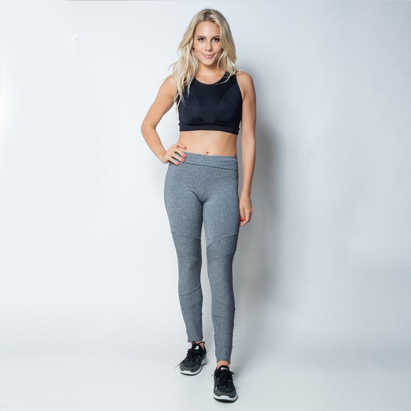 Calça fitness fusô em suplex liso com cós duplo e detalhes na perna V02.D