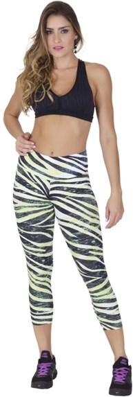 Calça legging fitness em microfibra estampada com cós largo V139