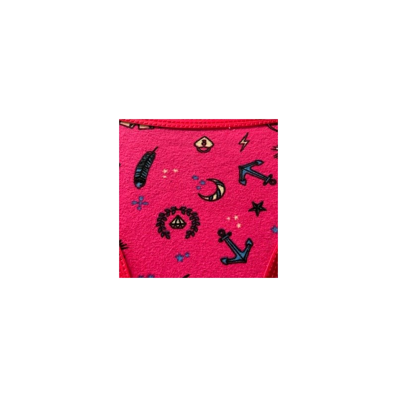 Calcinha básica em algodão estampado com lacinho em cetim B58.D ROSA ESCURO VARIADO