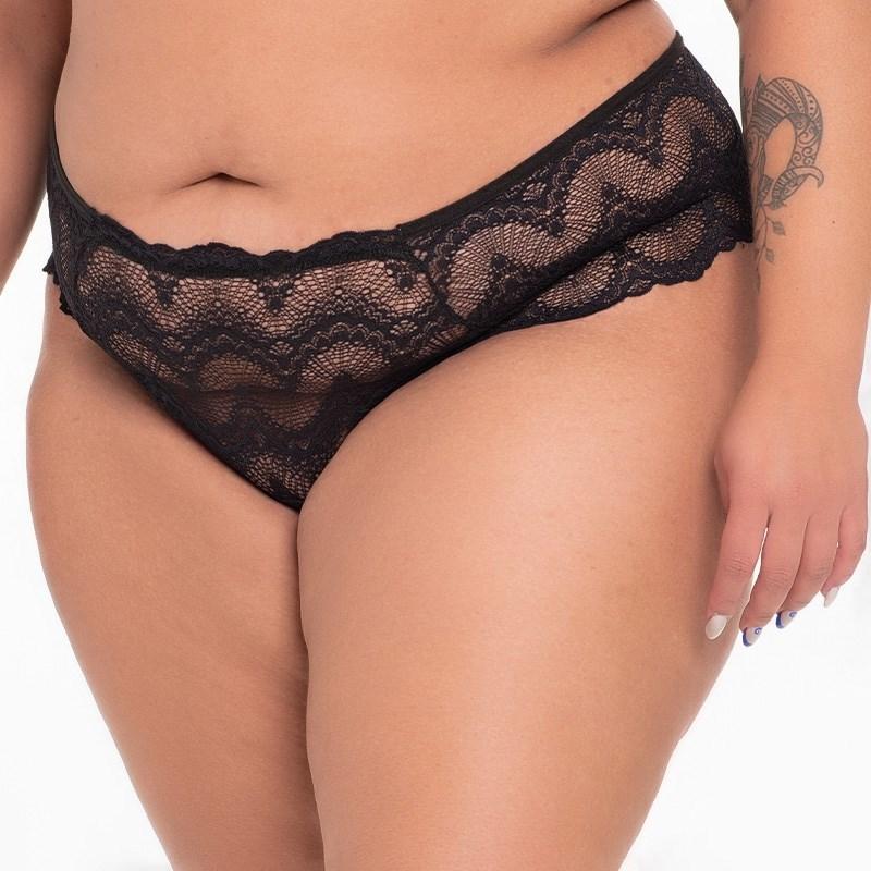 Calcinha Biquini Plus Size Sexy em Renda Com Lateral Larga AA16.B PRETO