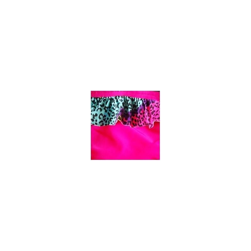Calcinha de biquíni fio em microfibra lisa e babadinho estampado T20.A ROSA ESCURO ONCINHA COLORIDA