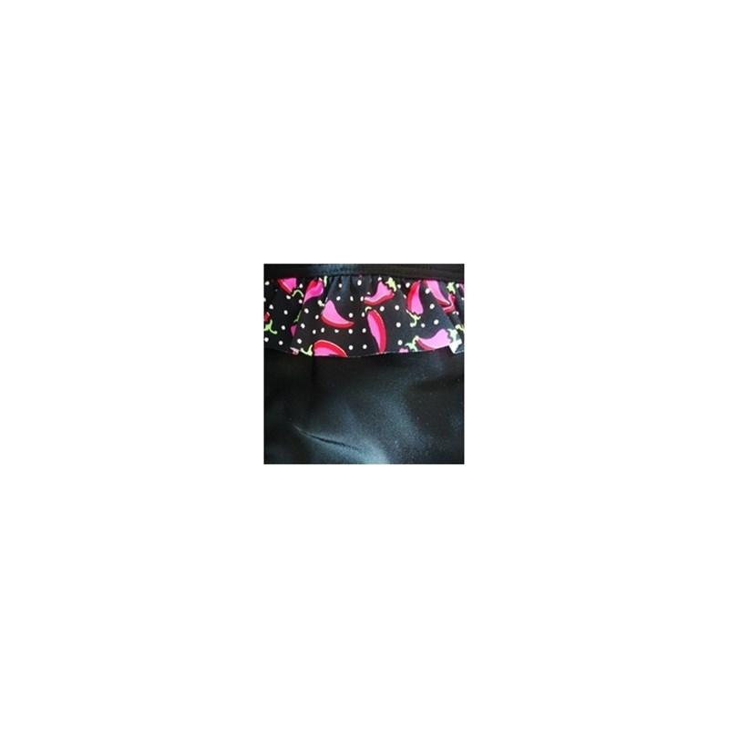 Calcinha de biquíni tirinha em microfibra lisa e babadinho estampado T24.A PRETO PIMENTA