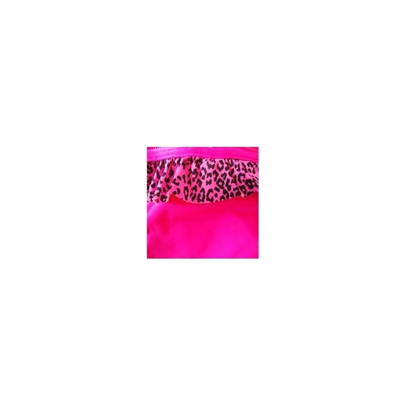 Calcinha de biquíni tirinha em microfibra lisa e babadinho estampado T24.A ROSA ESCURO ONCINHA ROSA