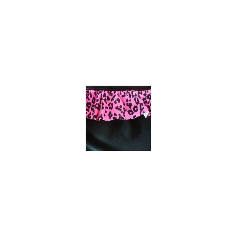 Calcinha de biquíni tirinha em microfibra lisa e babadinho estampado T24.A PRETO ONCINHA ROSA