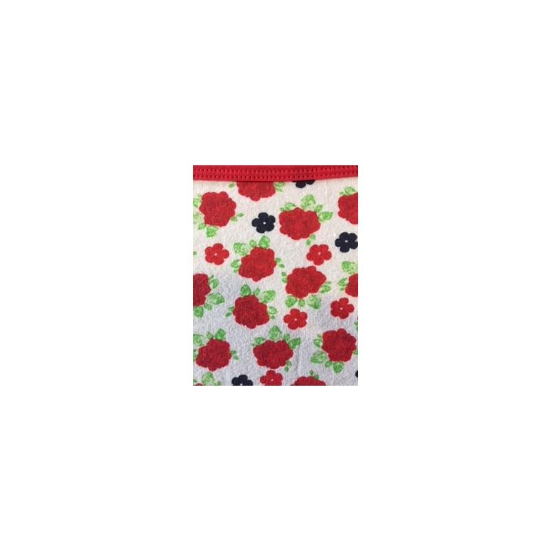 Calcinha de cotton liso ou estampado com lacinho em cetim B87 VERMELHO VARIADO