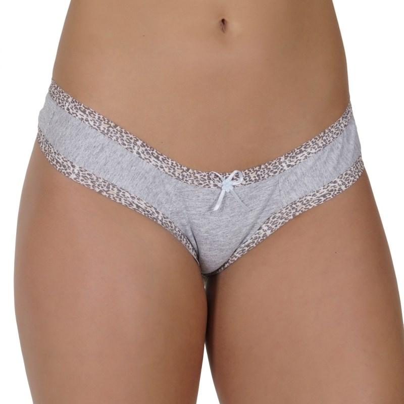 Calcinha em algodão liso com lacinho e elástico exposto B235 CINZA
