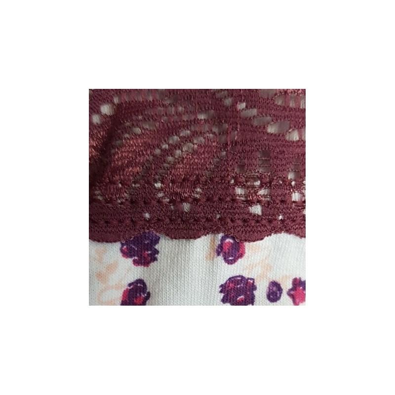 Calcinha em Cotton Lateral Dupla com Detalhe em Renda B50.D VINHO VARIADO