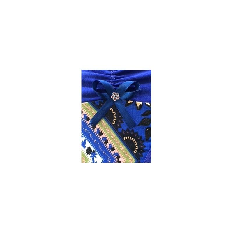 Calcinha em viscolycra estampada com drapeado e elástico exposto B245.A AZUL ESCURO VARIADO