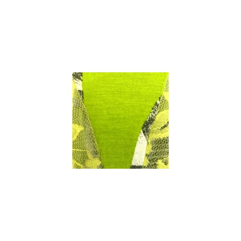 Calcinha em viscolycra estampada com renda e lacinho B237.A VERDE CLARO VARIADO