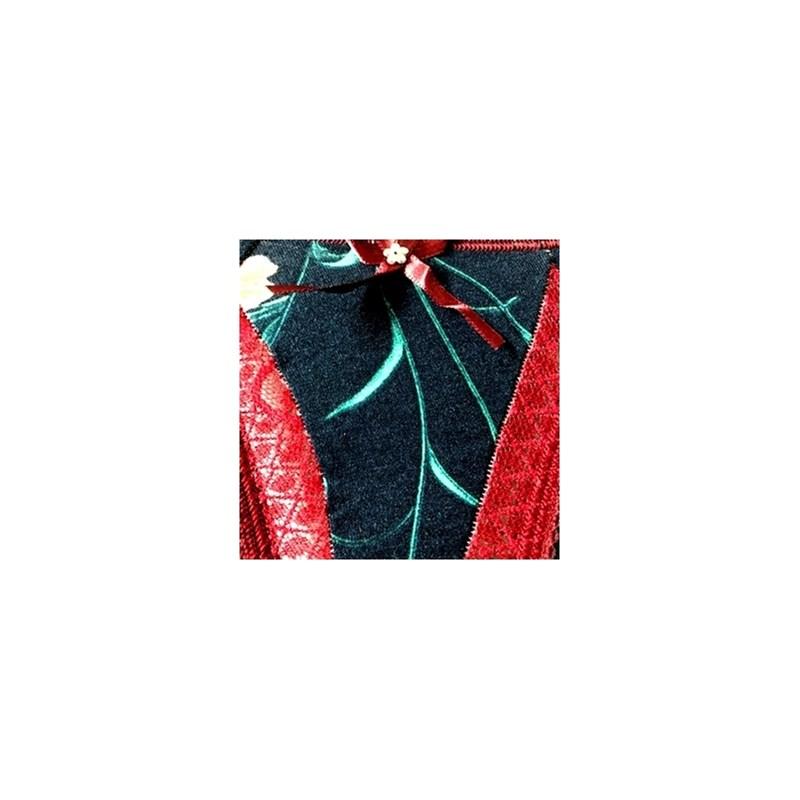 Calcinha em viscolycra estampada com renda e lacinho B237.A VINHO VARIADO
