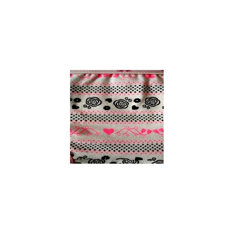Calcinha infantil em algodão estampado com elástico exposto N26.A ROSA CLARO VARIADO