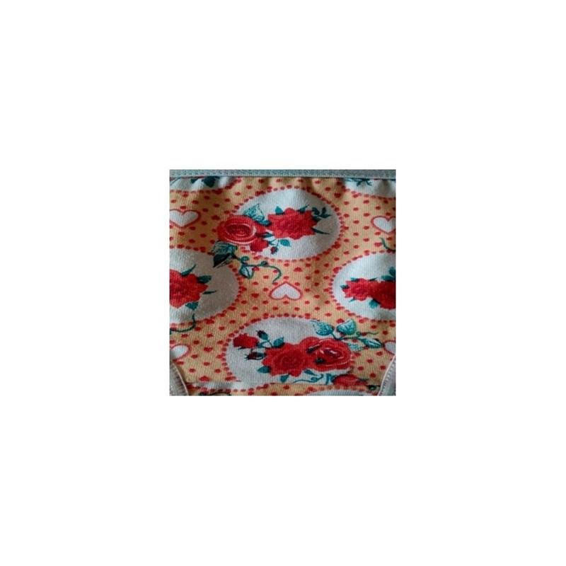 Calcinha infantil em algodão estampado com elástico exposto N26.A BRANCO VARIADO