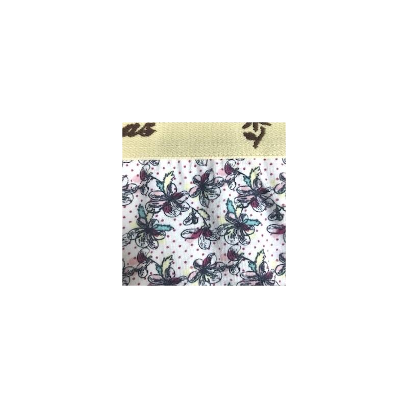 Calcinha infantil em algodão estampado com elástico exposto N26.A CREME VARIADO