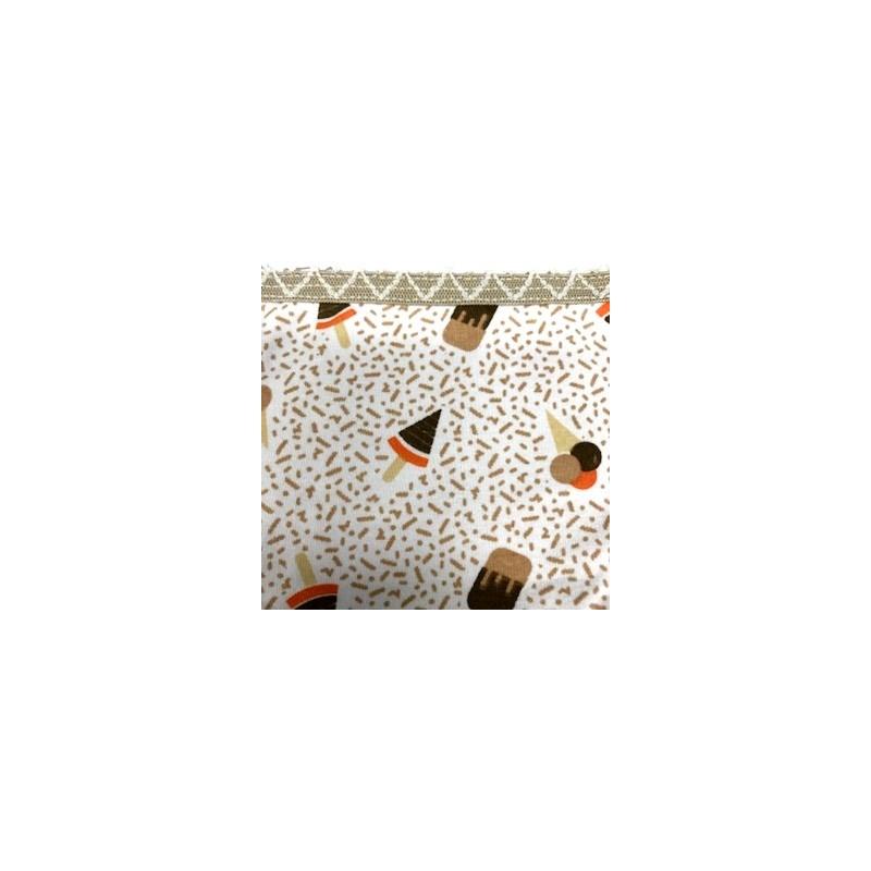 Calcinha infantil em algodão estampado com viés personalizado N33.A CHOCOLATE VARIADO