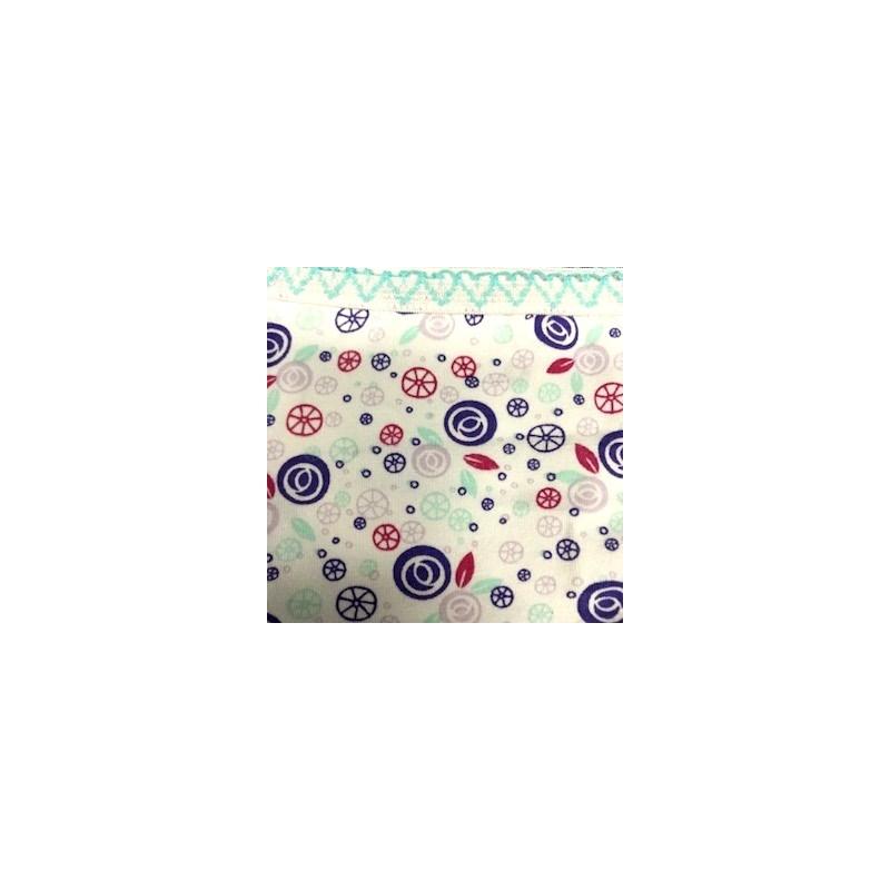 Calcinha infantil em algodão estampado com viés personalizado N33.A AZUL CLARO VARIADO