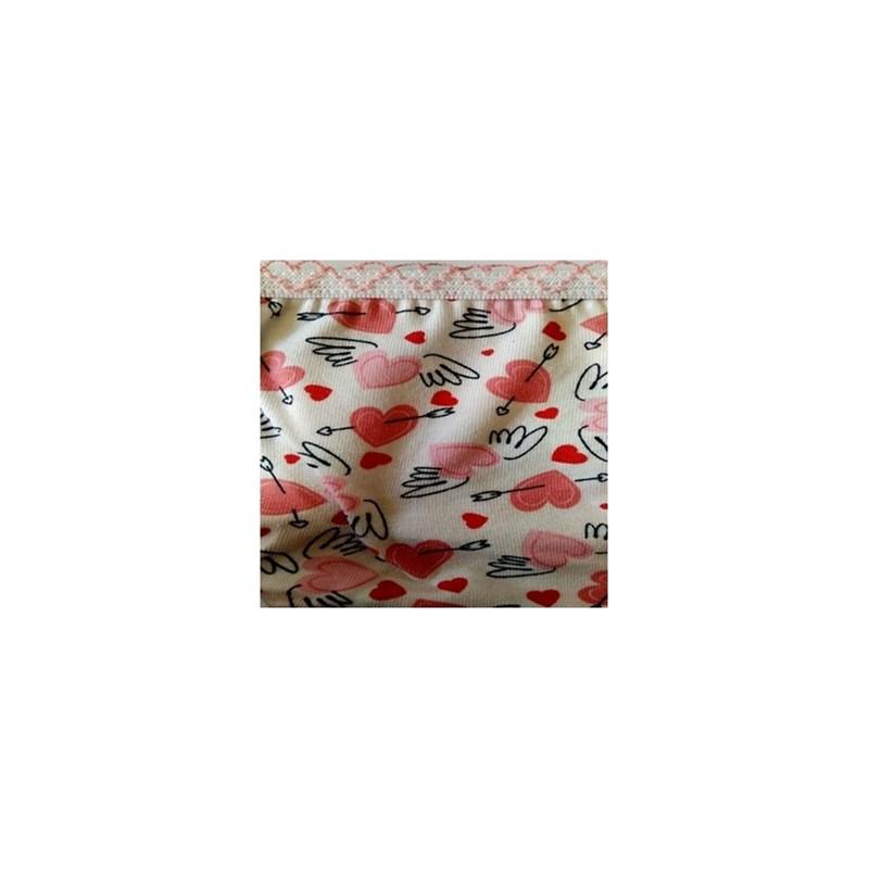 Calcinha infantil em algodão estampado com viés personalizado N33.A ROSA CLARO VARIADO