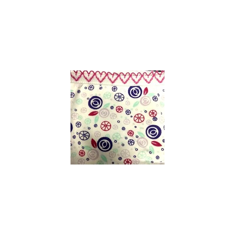 Calcinha infantil em algodão estampado com viés personalizado N33.A ROSA ESCURO VARIADO