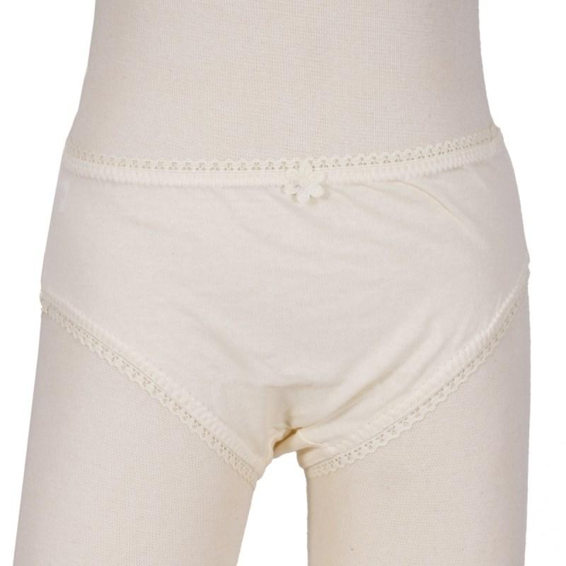 Calcinha infantil em algodão liso com lacinho N02 CREME
