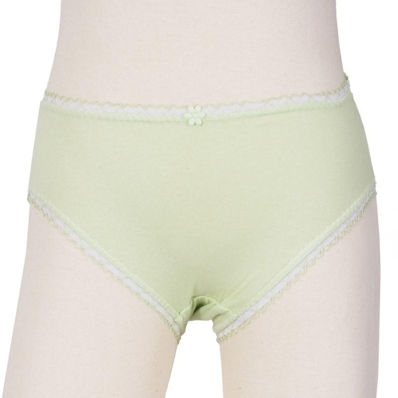 Calcinha infantil em algodão liso com lacinho N02 VERDE CLARO