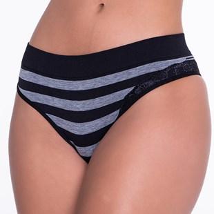 Calcinha Luxo Conforto Fashion Striped Cós Largo com Detalhe em Renda B187