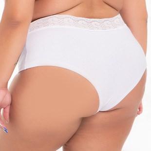 Calcinha Plus Size em Algodão Cueca Feminina Cós em Renda AA15.B