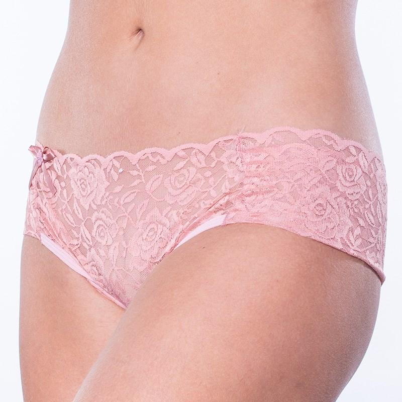 Calcinha Sexy em Renda Lateral Larga com Detalhe de Laço B74.C GOIABA